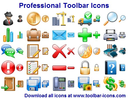 Professional Toolbar Icon Set screenshot