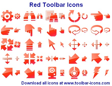 A set of red pictograms for any toolbar