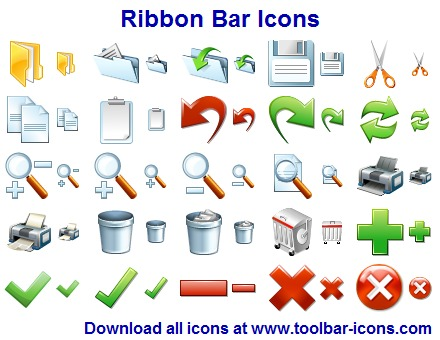 Design professional looking ribbon-based interfaces with Ribbon Bar Icon Set
